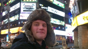 Its about -8 degrees here in Seoul. Here i'm wearing my hat from friends. Most streets look like the street behind me.