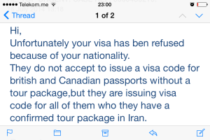 Visa rejection email from Iranianvisa.com